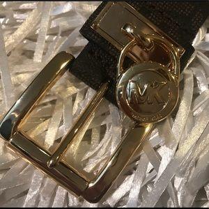 Michael Kors Logo Belt with Gold Buckle NWOT